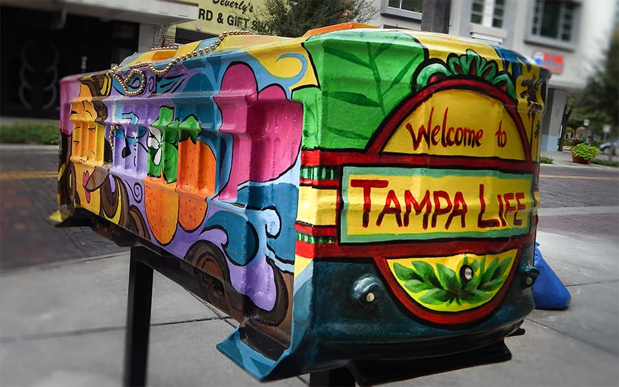 Streetcar Sculpture by Beth Warmath name Welcome To Tampa Life on Franklin Street Tampa FL